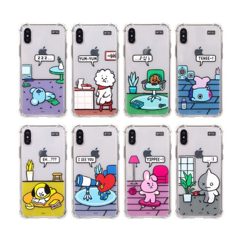 bt21,roomies clear slim bumper case