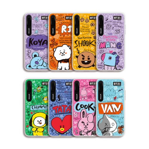 bt21,doodling graphic light up case